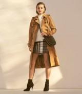 KAREN MILLEN Leather Trench Coat in Tan ~ every day luxe