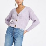 RIVER ISLAND Lilac horn button knit cardigan ~ cropped cardigans