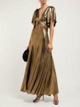 MARIA LUCIA HOHAN Lilah metallic jersey panelled maxi dress in gold