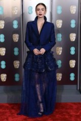 Lily Collins chose this blue semi sheer Givenchy ensemble to grace the Baftas red carpet, 10 February 2019 ~ best Bafta outfits