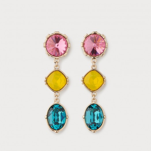 L.K. BENNETT LILY CRYSTAL DROP STATEMENT EARRINGS ~ multi-coloured drops