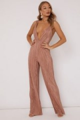 IN THE STYLE LINETTE NUDE PLISSE PLUNGE FRONT JUMPSUIT ~ deep plunging neckline ~ going out glamour