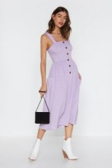 NASTY GAL Livin' on a Square Neck Midi Dress in lilac – spring check print fit and flare