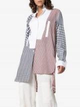 Loewe Gingham Print Long-Sleeved Asymmetric Cotton Shirt / multi check prints