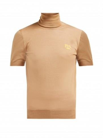 PRADA Logo-intarsia roll-neck wool sweater ~ tan short sleeve top