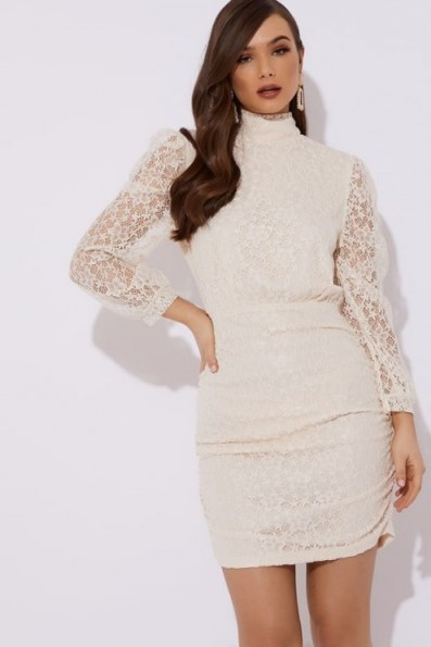 LORNA LUXE 'CAGED BIRD' BROCADE LACE DETAIL CREAM MINI DRESS ~ high neck open back party dresses