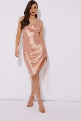 LORNA LUXE 'SOMETHING SPECIAL' SATIN ROSE GOLD SLIP DRESS ~ side ruched going out dresses