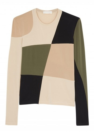 LOROD Panelled stretch-jersey top in camel and army-green - flipped