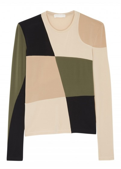LOROD Panelled stretch-jersey top in camel and army-green