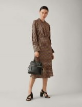 JOSEPH Lucian Diamond Weave Print Dress in Peach / chic check prints