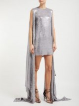 ASHISH Luna sequinned drape-sleeve mini dress ~ metallic-silver event wear