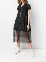 MAISON MARGIELA floral lace hem shirt dress in black / sheer hemline