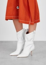 MALONE SOULIERS Daisy Luwolt 70 white suede ankle boots – cinched western style boot