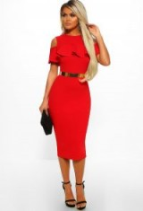 PINK BOUTIQUE Manhattan Sass Red Cold Shoulder Frill Layer Bodycon Midi Dress – going out fashion