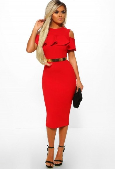 PINK BOUTIQUE Manhattan Sass Red Cold Shoulder Frill Layer Bodycon Midi Dress – going out fashion - flipped