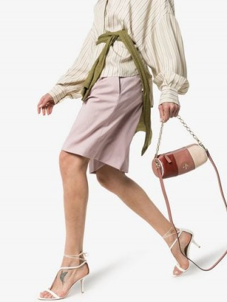 Manu Atelier Dusky Pink And Brown Mini Cylinder Leather Shoulder Bag / small cylindrical bags