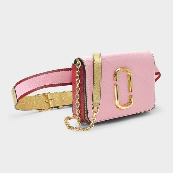 marc jacobs HIP SHOT BELT BAG IN BABY PINK AND RED LEATHER WITH POLYURETHANE COATING – girly fanny pack - flipped