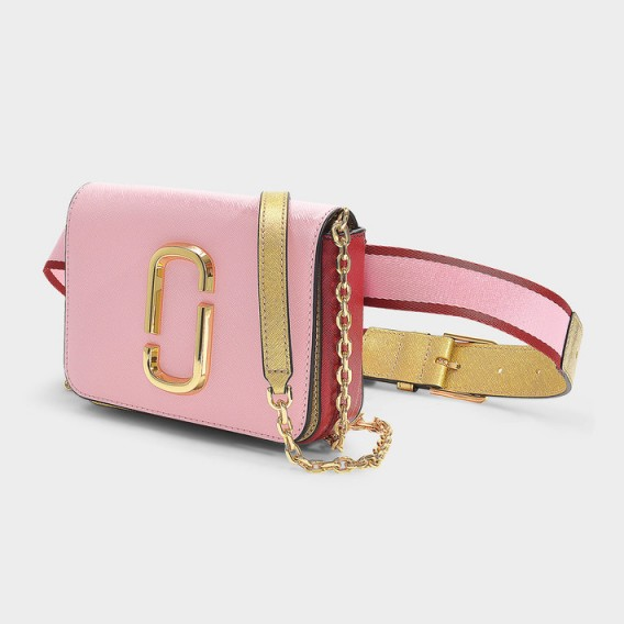 marc jacobs HIP SHOT BELT BAG IN BABY PINK AND RED LEATHER WITH POLYURETHANE COATING – girly fanny pack