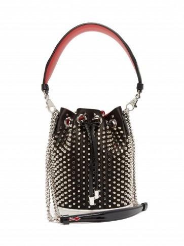 CHRISTIAN LOUBOUTIN Marie Jane black satin and leather bucket bag ~ small luxury bags