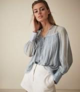 REISS MARINO SMOCK BLOUSE PALE BLUE ~ feminine semi sheer blouses