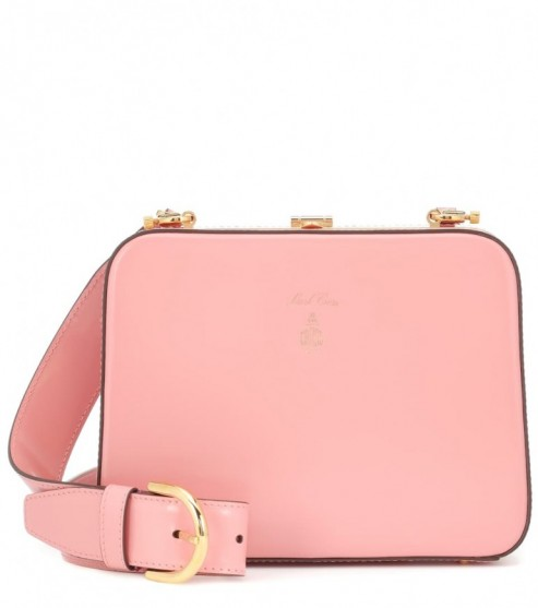 MARK CROSS Juliana Frame leather shoulder bag in rose-quartz ~ luxury pink bags