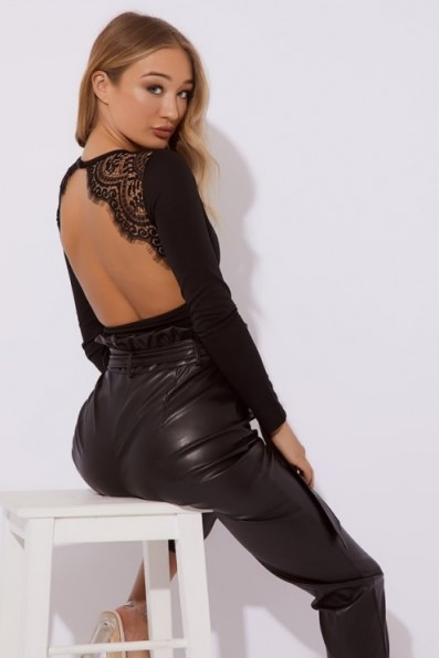 IN THE STYLE MARVELLA BLACK LACE DETAIL OPEN BACK BODYSUIT ~ going out glamour
