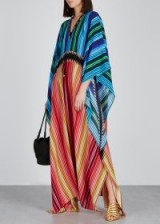 MARY KATRANTZOU Pencil-print silk kaftan. MULTI STRIPES
