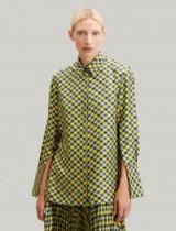 JOSEPH Mason Diamond Weave Print Blouse in Yellow / split sleeve blouses