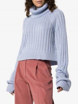 Matthew Adams Dolan Ribbed Knit Roll Neck Jumper in Blue ~ slouchy knitwear