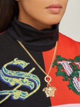 VERSACE Medusa-charm triple-chain pendant ~ designer gold-tone pendants