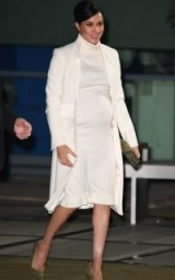 Meghan Markle cream coat, Amanda Wakeley Sculpted Tailoring Crombie Coat, attending a gala performance held at the Natural History Museum in London, 12 February 2019 | celebrity style fashion