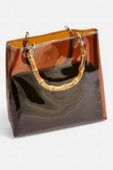 TOPSHOP Mercy TPU Bamboo Tote Bag in Brown – transparent handbag