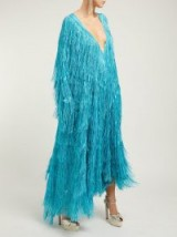 Vintage style glamour ~ GUCCI Metallic-fringed fil-coupé gown in blue