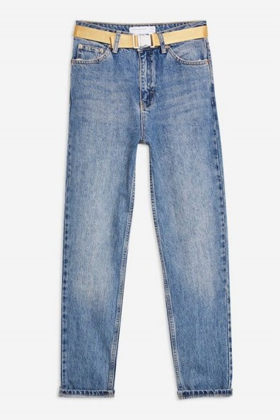 Topshop Mid Blue Seatbelt Mom Jeans | tapered leg
