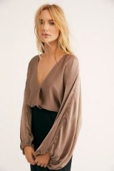 FREE PEOPLE Midnight Vibes Blouse in Mushroom – light-brown boho blouses