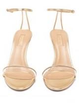AQUAZZURA Minimalist 85 gold-leather sandals ~ clear perspex-insert straps