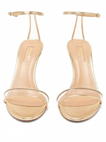 AQUAZZURA Minimalist 85 gold-leather sandals ~ clear perspex-insert straps
