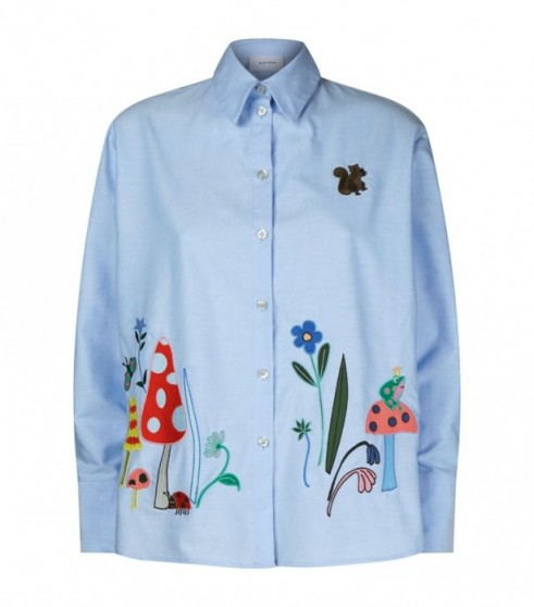 Mira Mikati Nature Embroidery Oxford Shirt in Blue ~ beautiful embroidered shirts