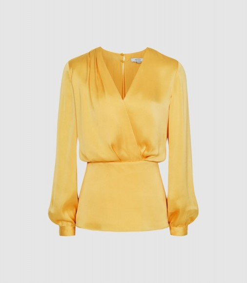 REISS MIRANDA PLUNGE WRAP FRONT BLOUSE YELLOW ~ clothing for spring
