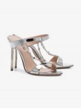 Miu Miu Silver Diamanté Chain 105 Sandals ~ high metallic mules