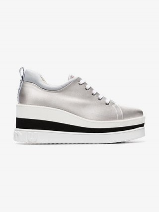 Miu Miu Silver 75 Flatform Sneakers / metallic flatforms