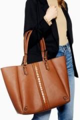 TOPSHOP Mojo Crocodile Stripe Tote Bag in Tan – stylish brown shopper