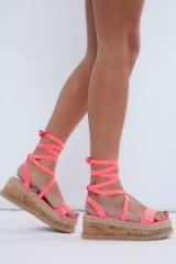 IN THE STYLE MOLLINE NEON PINK ESPADRILLES – bright strappy platforms