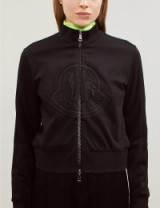 MONCLER Logo-embroidered cotton-jersey jacket in black – sporty zip-up jackets