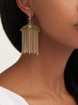 BIBI VAN DER VELDEN Monkey chain diamond & 18kt gold earrings ~ fringed statement jewellery
