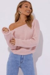 IN THE STYLE NAIMA BLUSH BRUSHED V BACK CROPPED JUMPER ~ pink off shoulder jumpers