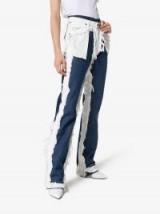 Natasha Zinko Wrangler Distressed Layered Jeans in White and Blue ~ modern denim