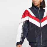 RIVER ISLAND Navy block high neck track jacket – sports jackets