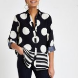 RIVER ISLAND Navy spot button front shirt. STRIPES & SPOTS