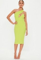 MISSGUIDED neon lime one shoulder midi dress ~ bright going out dresses